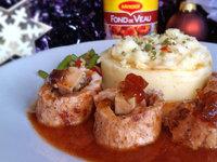Ballottines de dinde au foie gras, chutney d'oignons rouge