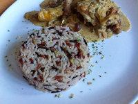 Poulet champignons crème et riz sauvage