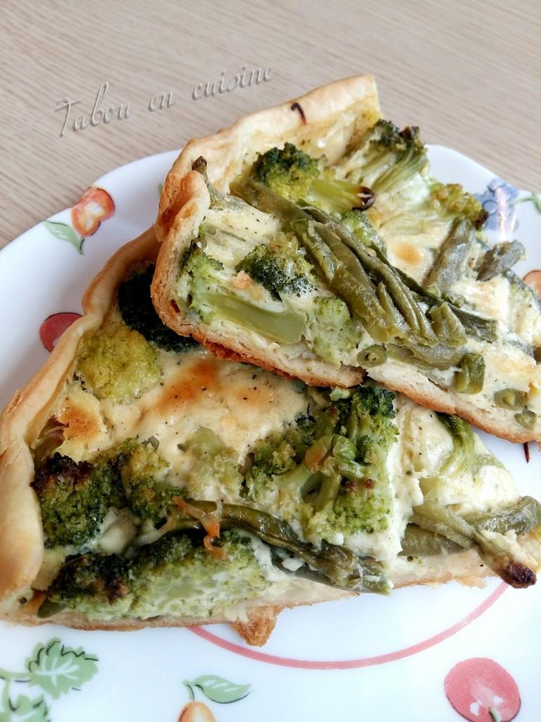 Tarte aux brocolis et haricots verts